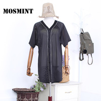 MOSMINT Fishnets Mesh Black Long T Shirts Women 2017 Hollow Out Chic Casual Blouse Tops Female