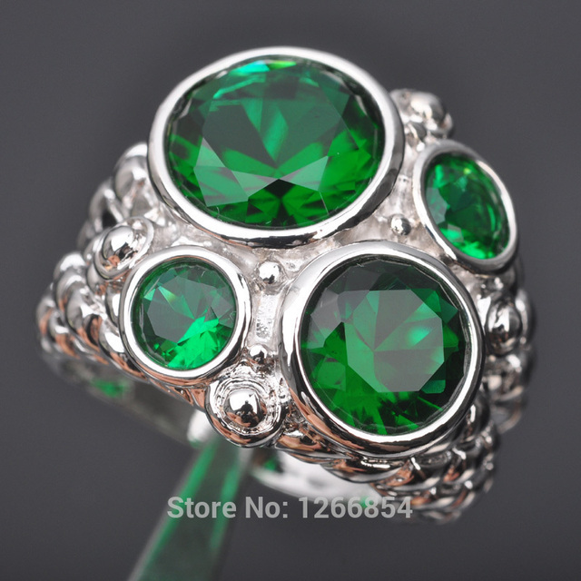 e74279cc55dd3 US $4.64 44% OFF|Huge Design Green Stone Cubic Zirconia For Women 925  Sterling Silver Jewelry Ring Size 5 6 7 8 9 S0953 Free Shipping -in Rings  from ...