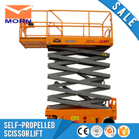 Self propelled electric hydraulic scissor lift mobile vertical self moving driven hand crank man lift equipment low price sale