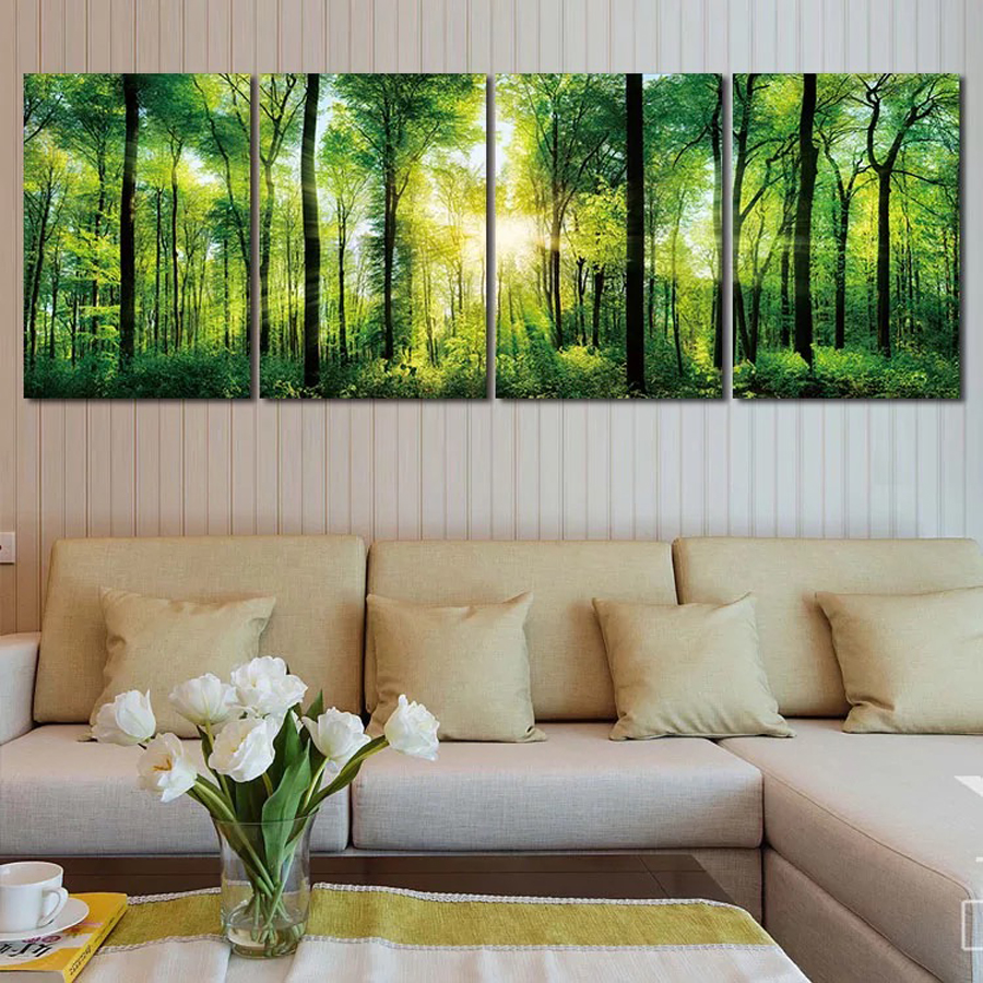 Full place diy diamond painting 5d diamond embroidery forest trees green 4 pieces mosaic pattern cross stitch triptych wall