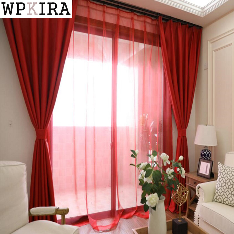Solid Red Color Jalousie Curtains For Living Room Modern Curtains ...