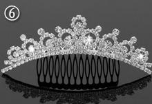 Fiesta de navidad de la boda de cumpleaños corona de cristal peine diadema niños muchacha de las mujeres eventos rhinestone Tiaras 6 tipos