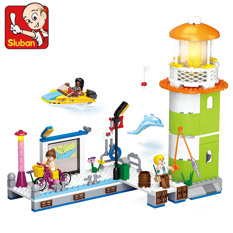 SLUBAN 0607 278pcs Girl Friend Pink Dream Pier Wharf Beacon Lighthouse Building Block Kids DIY Brick Toys for Children