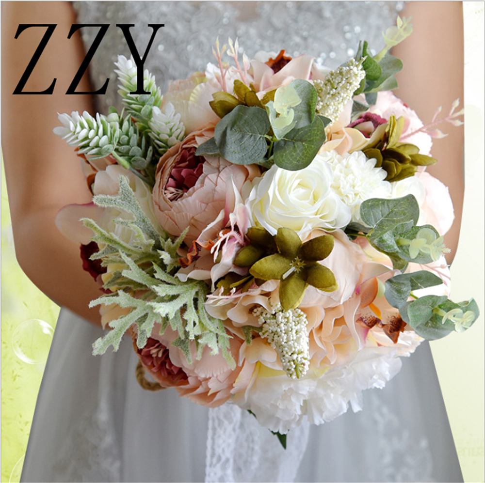 New Arrival 2019 Hot Wedding Bouquet Succulent Plants Green Artificial Bridal Bouquets Women bouquet de mariage Free Shipping