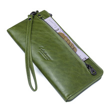 Купить с кэшбэком KVKY Female Long Clutch Wallet Genuine Leather Women Wallets Large Capacity Zipper Design Purse With Card Holder Phone Bag