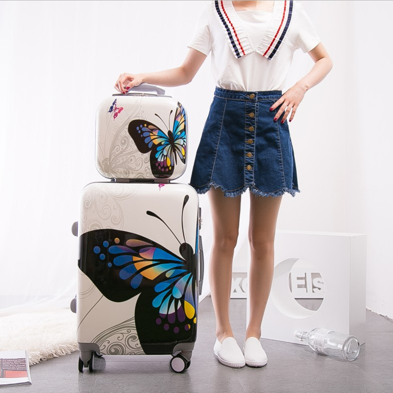 New Arrival!Women 12 20 24inches butterfly pc hardside case travel luggage set on universal wheels,high quality trolley luggage