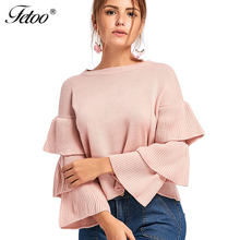 2894ad3c75763 Buy layered ruffle sleeve pullover sweater and get free shipping on ...