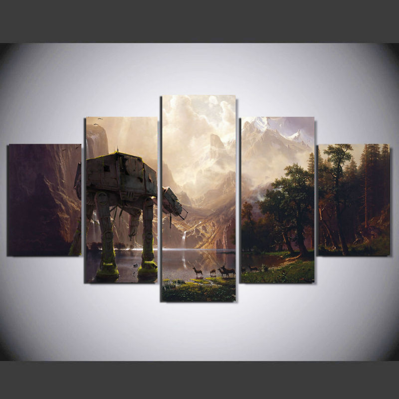 5 panel star wars robot dog at at wall art picture home decoration living room canvas print wall. Black Bedroom Furniture Sets. Home Design Ideas