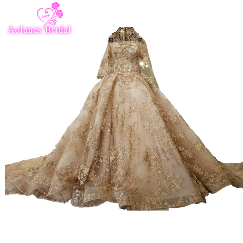 Real Photos Luxury Heavily Crystal Beaded Arabic Wedding Dress with 2M Royal Train with Match Long Veils Chmpange Wedding Dress