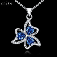 CHRAN Prong Zircon Flower Necklace Pendant Jewelry Bijoux Promotion Ladies Gifts Silver Plated Long Chain Necklace