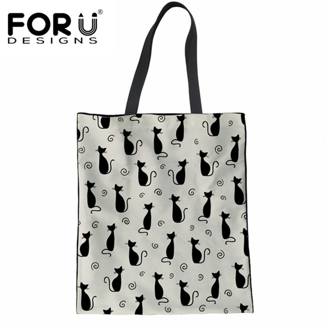 47ee794db790 FORUDESIGNS Shopper Bags for Mom Casual Women's Large Tote Shoulder Bags  Cute Cat Casual Reusable Shipping Bags Woman Canvas Bag-in Shopping Bags  from ...