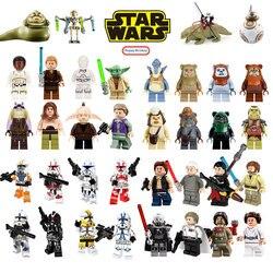 Estrela blocos de construção guerras jedi chewbacca han solo darth vader legoing figuras jango fett obi wan modelos brinquedos para crianças bk37
