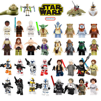 Star Building Blocks Wars Jedi Chewbacca Han solo Darth Vader legoing Figures Jango Fett Obi Wan Models Toys for children bk37