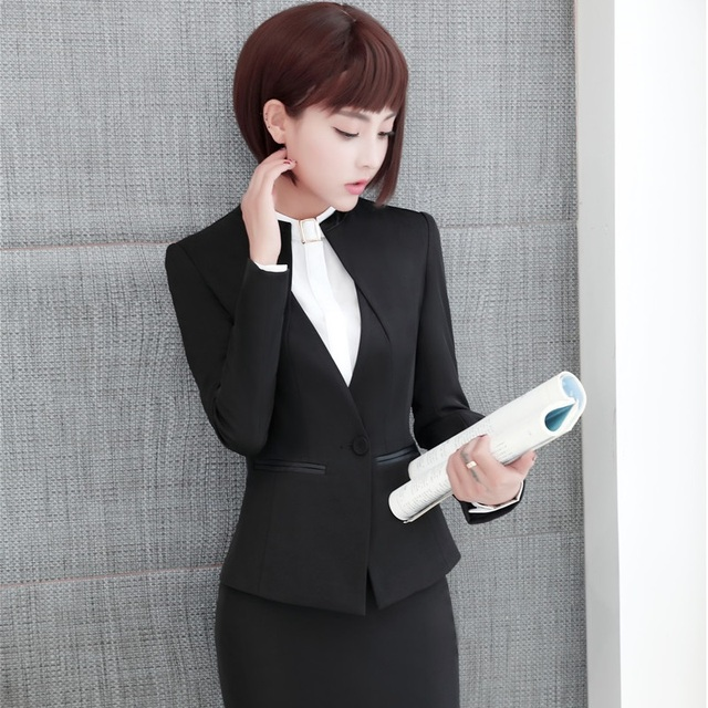 Elegant Grey Formal Blazers OL Styles Autumn Winter Jackets Coat For Ladies Office Outwear Female Tops Clothes Plus Size 4XL 3