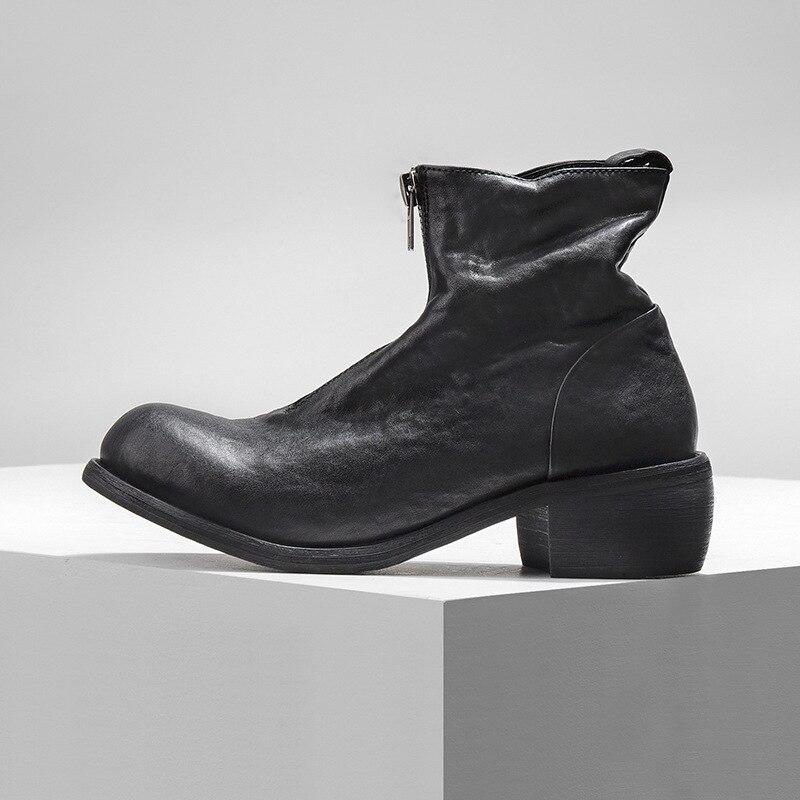 Ayakk.'ten Basic Çizmeler'de Vintage Hakiki Deri Zip Çizmeler Yuvarlak Ayak Bileği binici çizmeleri Lüks Marka Erkekler rahat ayakkabılar Beyaz Yüksek Top Sneakers 38  44'da  Grup 3