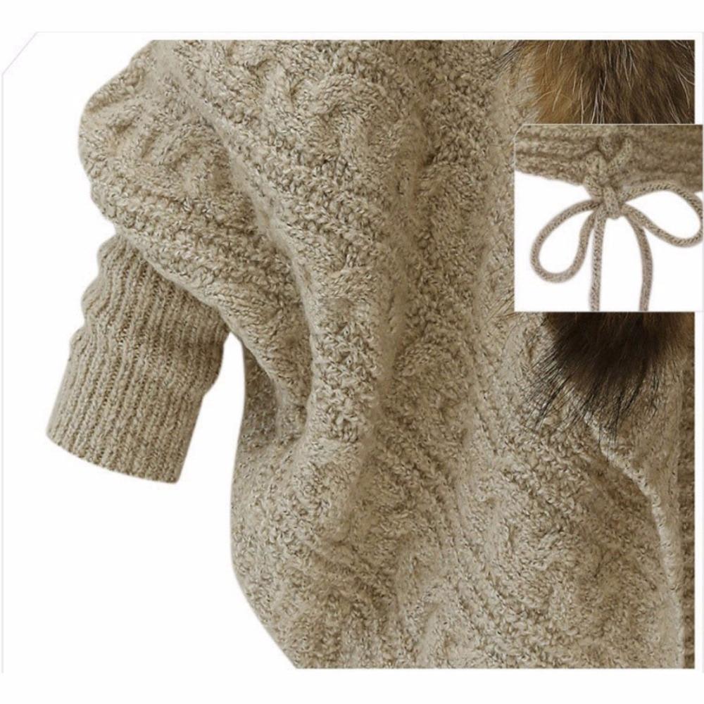Autumn Winter Women imitation raccoon fur collar bat sleeves knitted cardigan Sweater shawl outwear