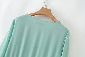 Image 4 - Vadim kobiety do połowy łydki szyfonowa sukienka plisowana V neck z długim rękawem prosto drapowana casual sexy sukienki midi solidna vestidos QB399