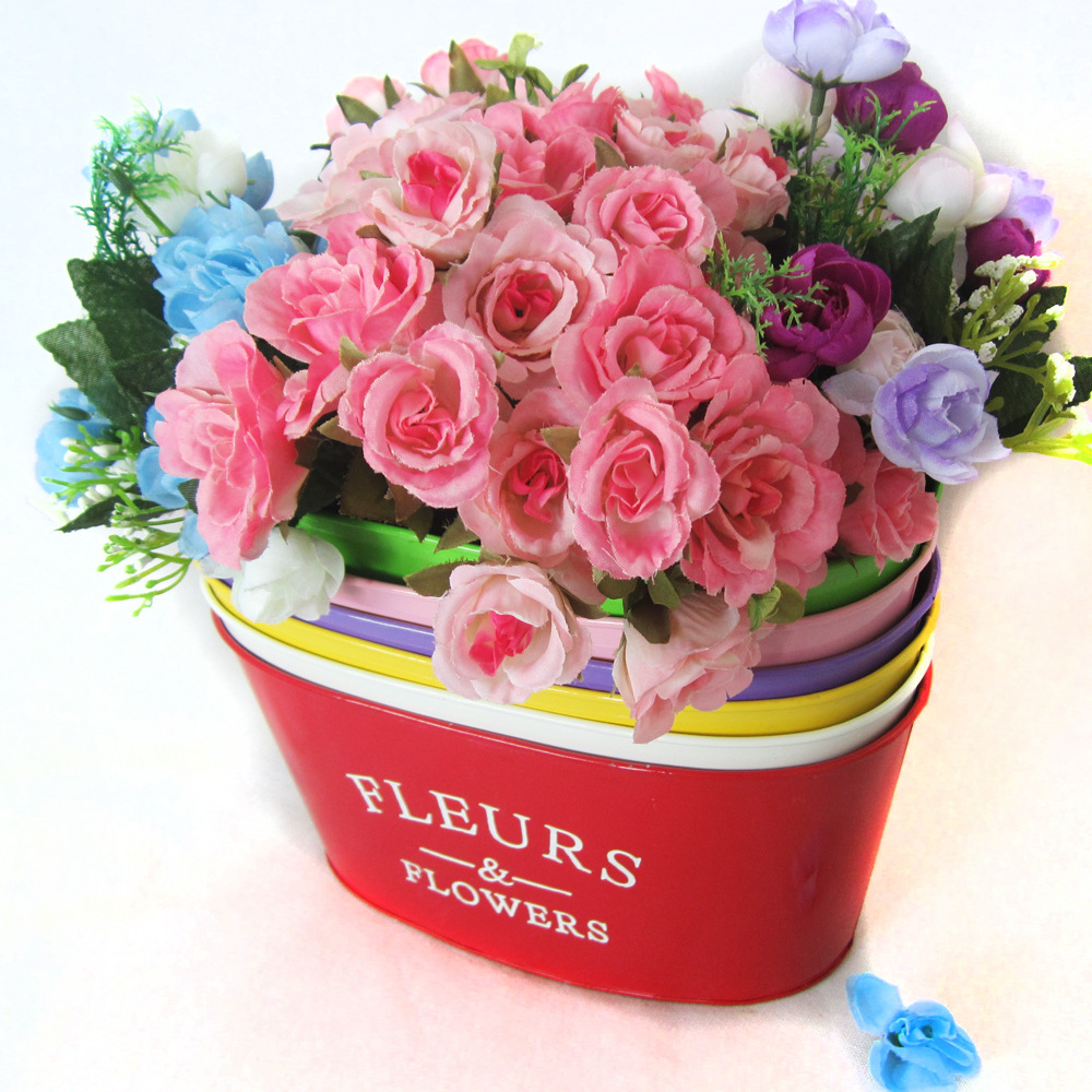 Fleurs Flower Tin Bucket 1pc Pastoral Style Candy Color Iron Flower
