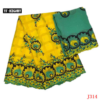 YF HZGJMY Bazin Riche Getzner Latest African Laces 2019 Yellow/Green Nigeria Embroidery French Cotton Lace Fabric JA314