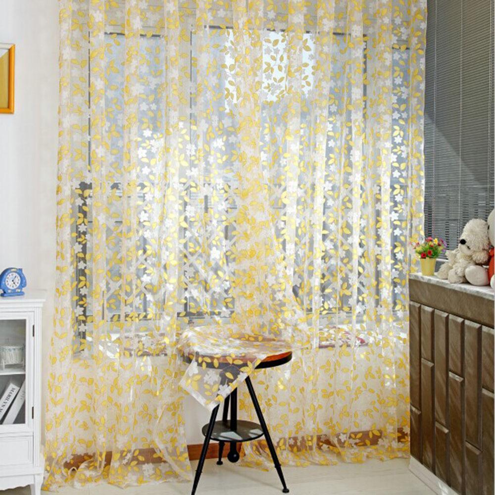 de la moda pastoral impreso gasa tul sheer panel puerta ventana del balcn cortina de pantalla caliente