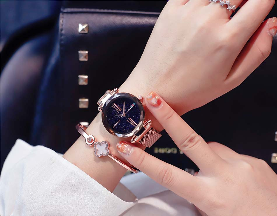 Luxury Rose Gold  Women Watches Minimalist Starry Sky Magnet Buckle Ladies Watch Fashion Casual Female Waterproof  Wristwatch (1)
