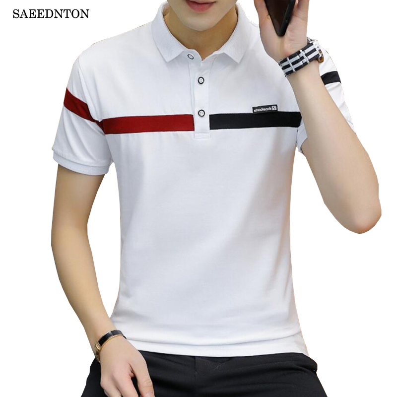 mens Polo Shirt Brands High Quality Cotton Short Sleeve Turn-down Collar Red Black Patchwork Business Casual Homme Tops Tees