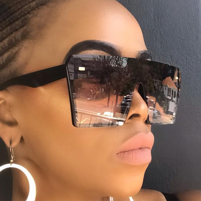 Oversized Square Sunglasses Women 2019 Luxury Brand Fashion Flat Top Red Black Clear Lens One