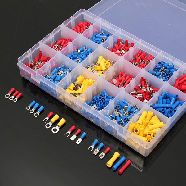 1200Pcs/lot Assorted Insulated Spade Cable Connector Crimp Electrical Wire Terminal Set Red Blue Yellow 200pcs insulated assorted electrical wire terminal crimp connector spade set tube
