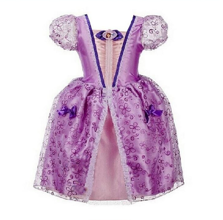 2017 New cartoon Cinderella Girls Dresses Rapunzel Aurora Princess Girls Dress Children Clothing Cosplay Costume Baby Kids Dress