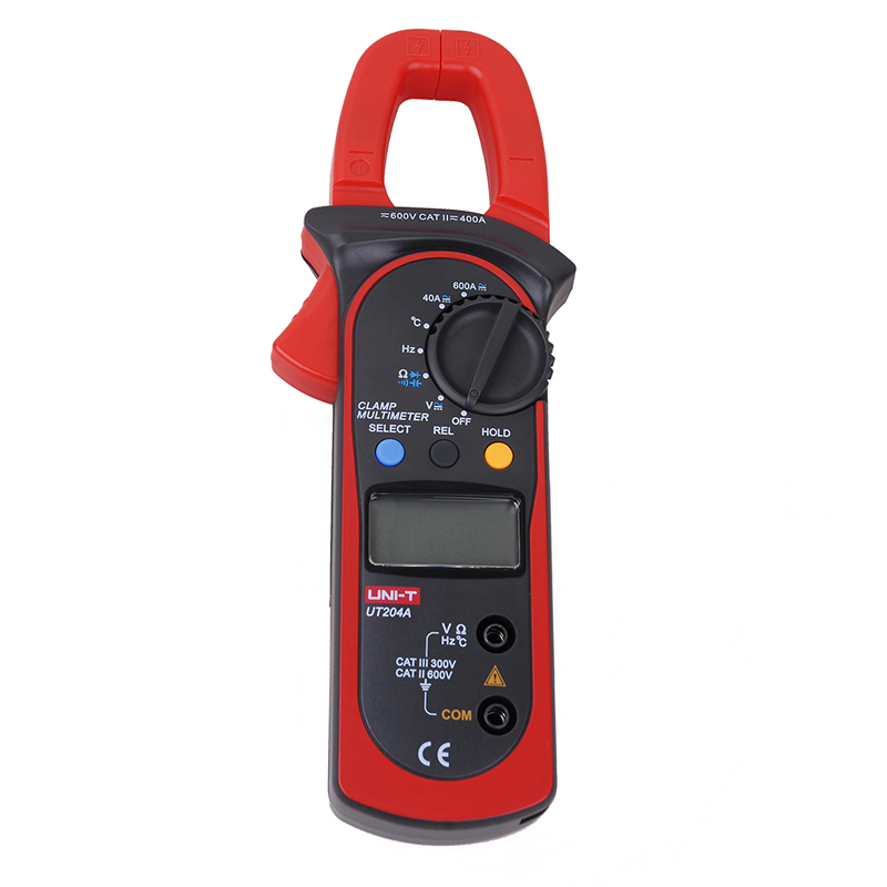 UNI-T UT204A DC/AC Voltage Current Digital Clamp Meter with Resistance, Capacitance, Frequency and Temperature Measurement