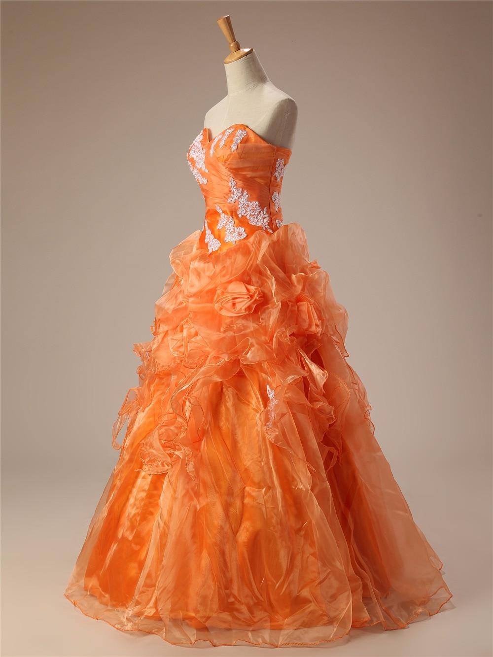 Cheap Quinceanera Dresses Orange Sweetheart Appliques Lace Vestidos De 15 Anos Ball Gown Sweet 16 Dresses Debutante Gown - 3