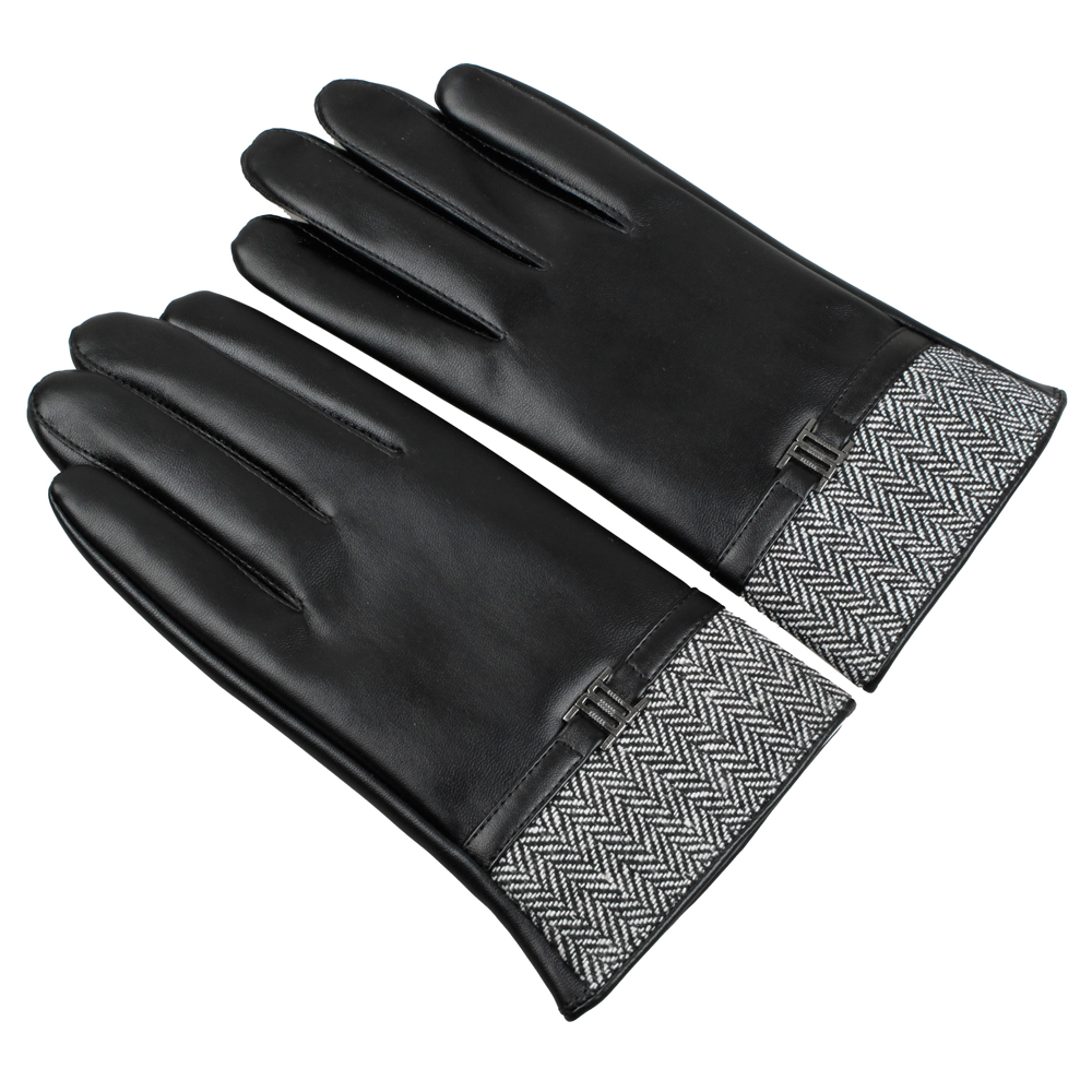 Black leather cut off gloves - 2016 Men Fashion Warm Touch Screen England Tlyle Driving Faux Fake Washable Leather Pu Autumn Winter New Belt Gloves Mittens