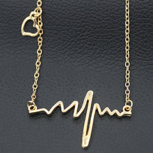 Simple Wave Heart Necklace Chic ECG Heartbeat Gold Plated Pendant Charm Lightning Necklace for Women Vintage Jewelry Accessories татуировка переводная heartbeat