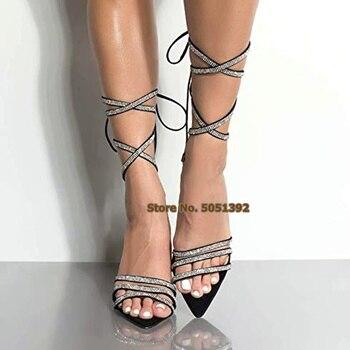 Women High Heel Sandals Boots Diamond Gliterring Cross-Tied Lace-up Peep Toe Bling Bling Rhinestone Shinning Sexy Mid-calf Boots