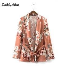 Kimono robe Cardigan Fleur imprimer Ceintures Orange Blazer Femme Châle col  Slim fit Mid long Costume Veste Manteau Survêtement . 5e705bee170