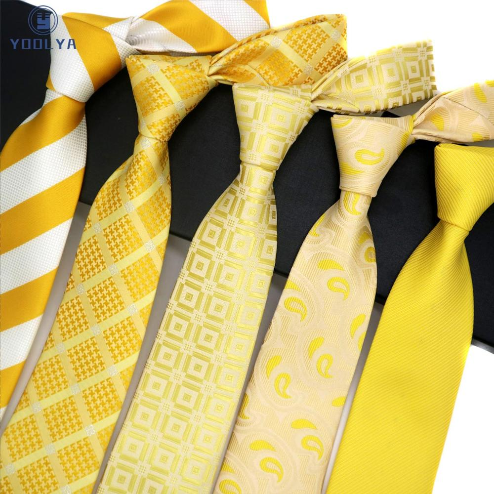 Fashion Mens Tie 8CM Yellow Orange Silk Neckwear Jacquard Woven Classic Neck Ties For Men Formal Business Wedding Party Groom
