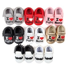 I love papa mama leather Baby mocassins girls boys shoes hot moccs sneaker shoes Soft Bottom Fashion Tassels Newborn Babe Shoes