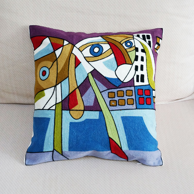 100% Cotton Robot Dog Abstract Embroidered Square Pillow Cover Cushion Case Sofa Chair Cushion Cover 45x45cm Without Stuffing