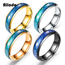 Ailodo Mood Rings Color Temperature Changing Magic Titanium Steel Wedding For Women Men Fashion Jewelry Gift LD060