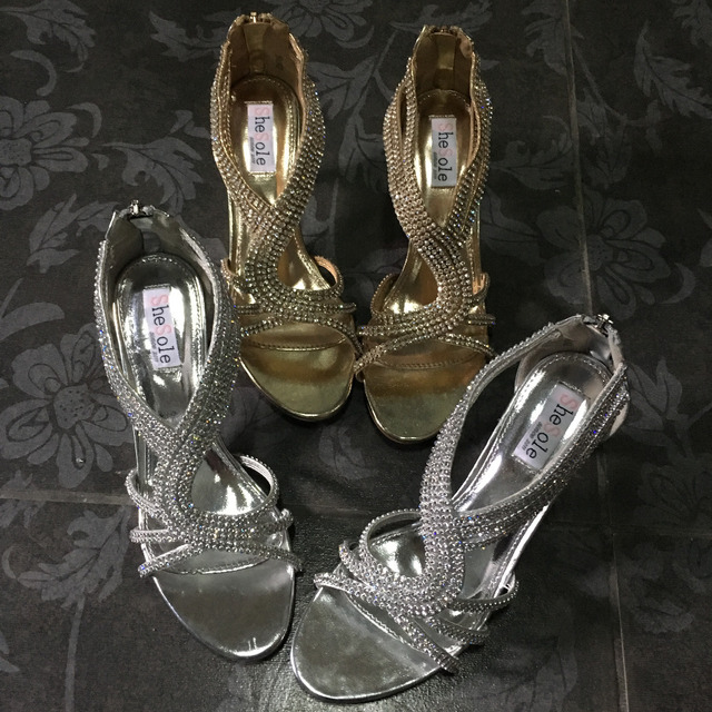 SheSole brand ladies strappy rhinestone kitten heel wedding sandal shoes  women silver gold zip party dress bridal bridesmaid new 01af58eeb946