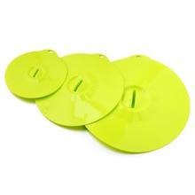 3 teil/satz Wiederverwendbare Silikon Deckel, schüssel & Tasse Abdeckung Mikrowelle Lebensmittel Frisch Deckel, grün Platin Silikon Küche Kochen Werkzeuge