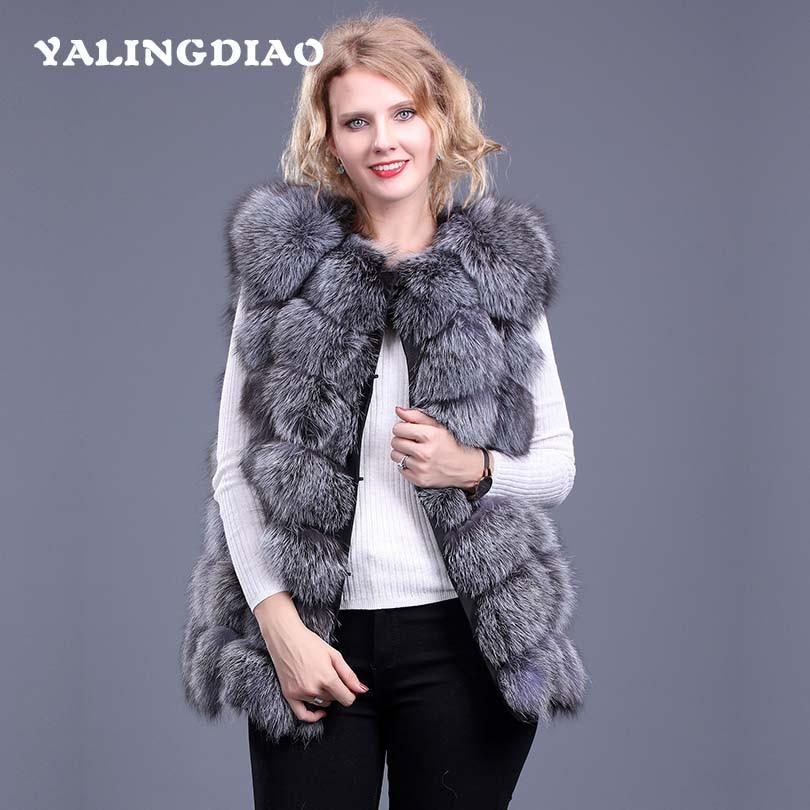 a175f2ec9c9 2018 6XL Style Office Women Sleeveless Warm 2018 Elegant Luxury Long Fox Fur  Vest Female 2018 Street Solid Faux ...