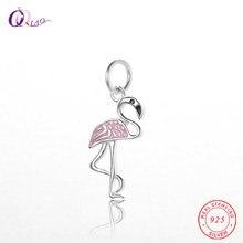 29d9464f3c9a Venta caliente 925 plata esterlina Flamingo encantos colgante para collar  pulsera DIY mujeres chica cumpleaños Boda REGALOS 1 un.