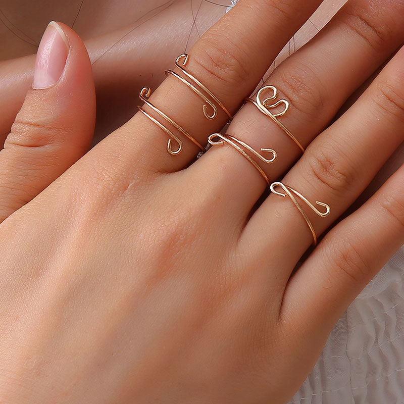 Minimalist Bending Metal 5 Pieces Silver Gold Ring Set