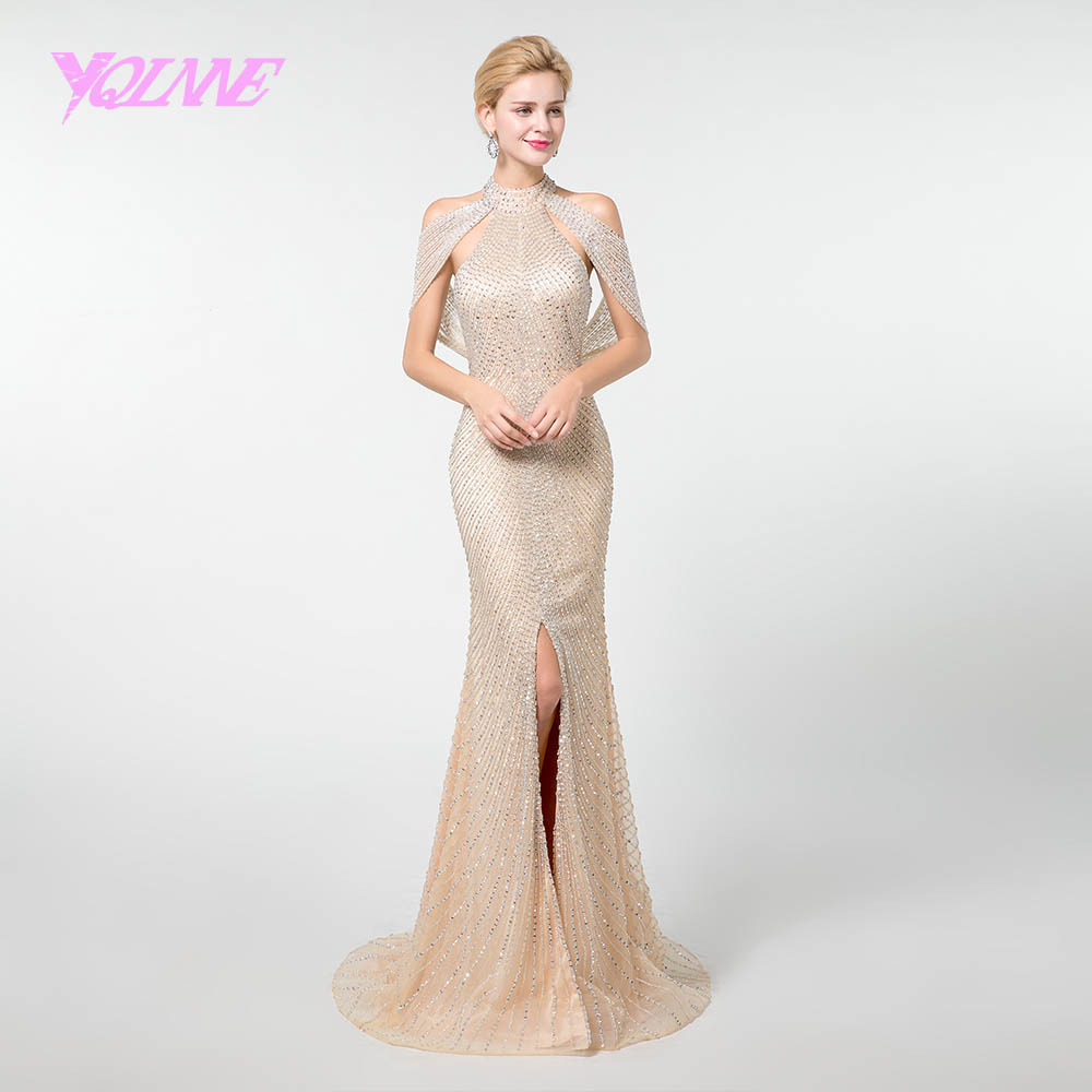 YQLNNE Gold Mermaid Prom Dresses Long 2019 Halter Beadings Backless Formal Dress YQLNNE