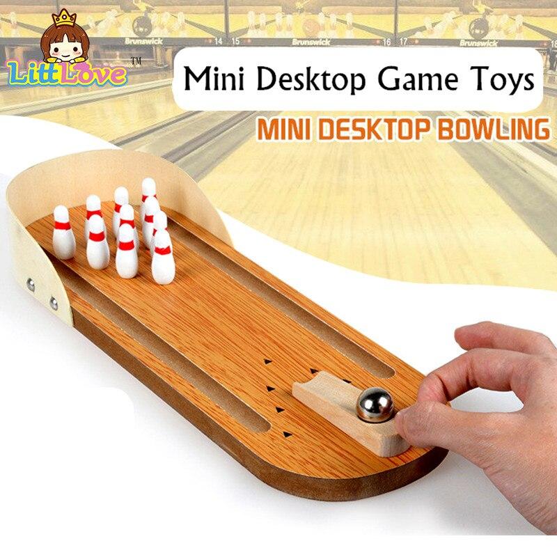 Litlove Mini juego de bolos de escritorio de madera niños juguete de desarrollo regalo decoración casa de bebé juguetes de entretenimiento