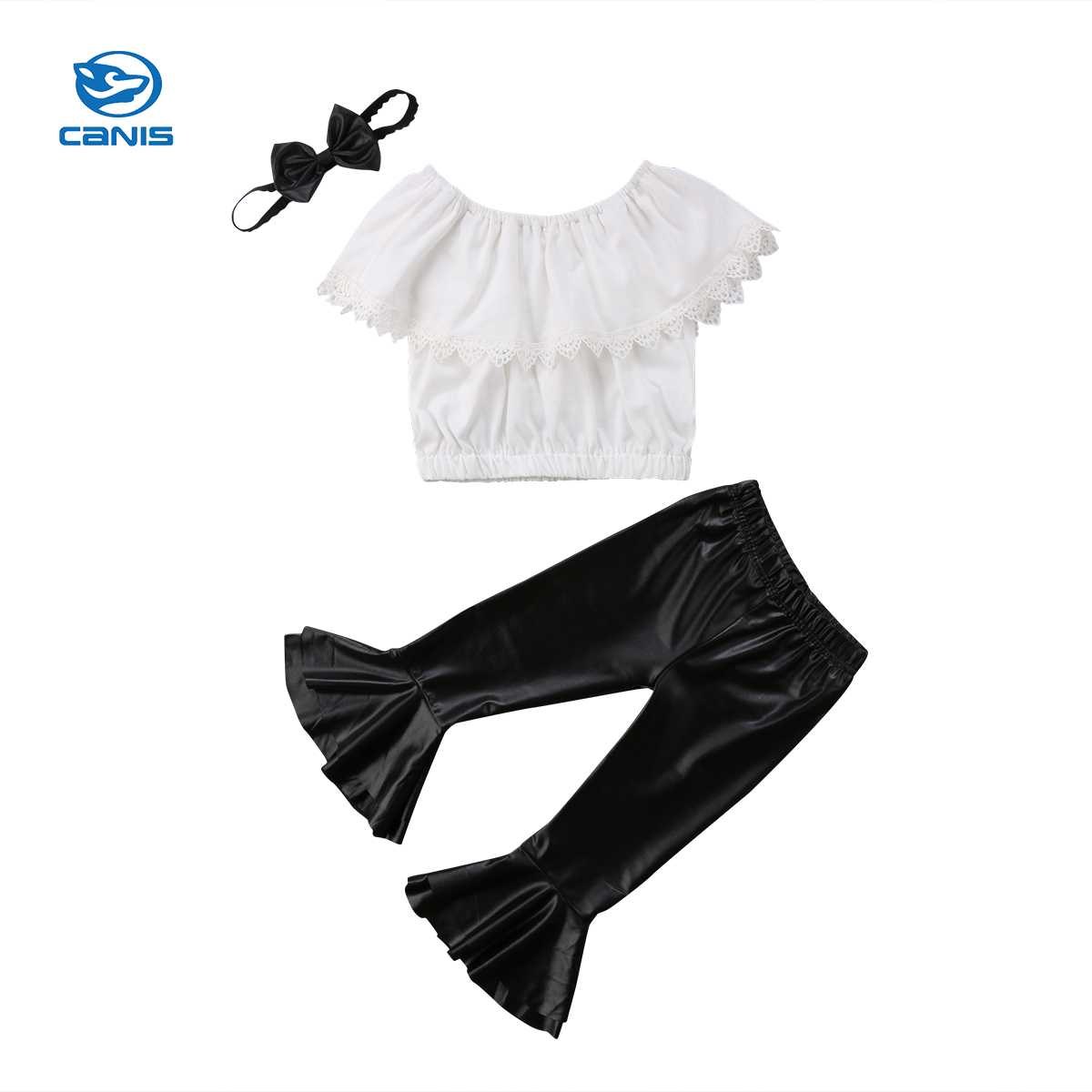 2018 Brand New Toddler Infant Kid Baby Girl Clothes Set Strapless Tops PU Leather Flare Pant Headband 3Pcs Summer Ruffled Outfit 3pcs outfit infantil girls clothes toddler baby girl plaid ruffled tops kids girls denim shorts cute headband summer outfits set