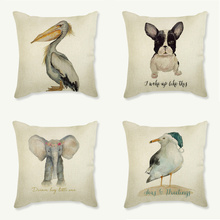 Water Color Paint Animal Cute Cushion Covers 2018 Design Deer Bird Elephant Fox Dog Pillow Case