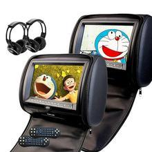 Pantalla Digital de Reposacabezas de coches Reproductor de DVD CD gris Negro almohada con cremallera Monitor del coche del USB FM TV Juego de control Remoto IR + 2 dos auriculares