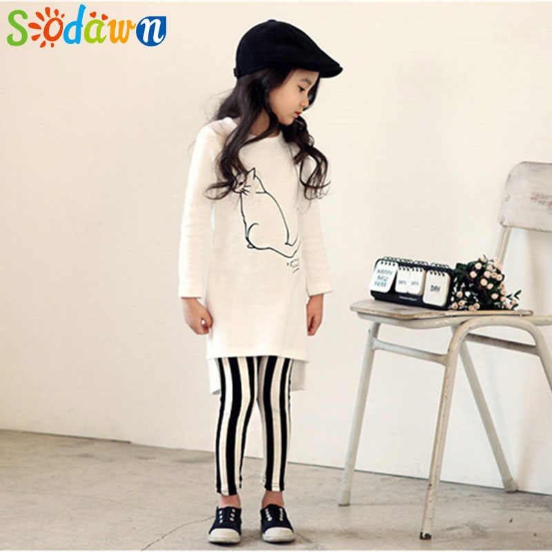 Sodawn 2020 Spring Autumn New Fashion Cartoon Cat Long Sleeve Shirt Striped Pants Suit  Children Clothing Girls Set Kids Clothes